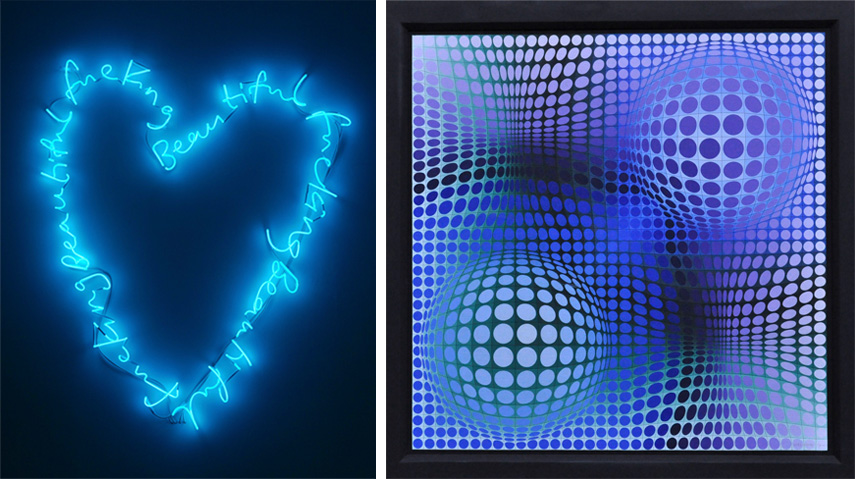 Left Tim Noble Sue Webster - fucking beautiful (Ice blue Version), 2017 Right Victor Vasarely - Oltatlo, 1973-75