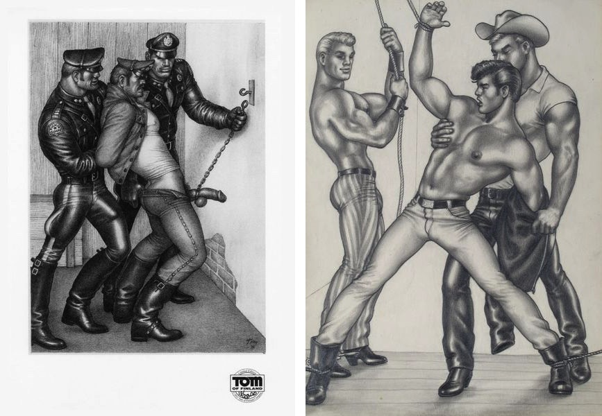 TOM's Leather Guards #1, 1976, Tom of Finland, The Saddle Thief XII, 1958, inspiring many video works and a movie