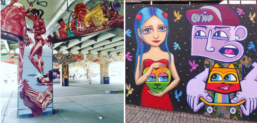 Left: Toronto's Graffiti Alley / Right: Minhau Artwork - Paint the City, Contact the City