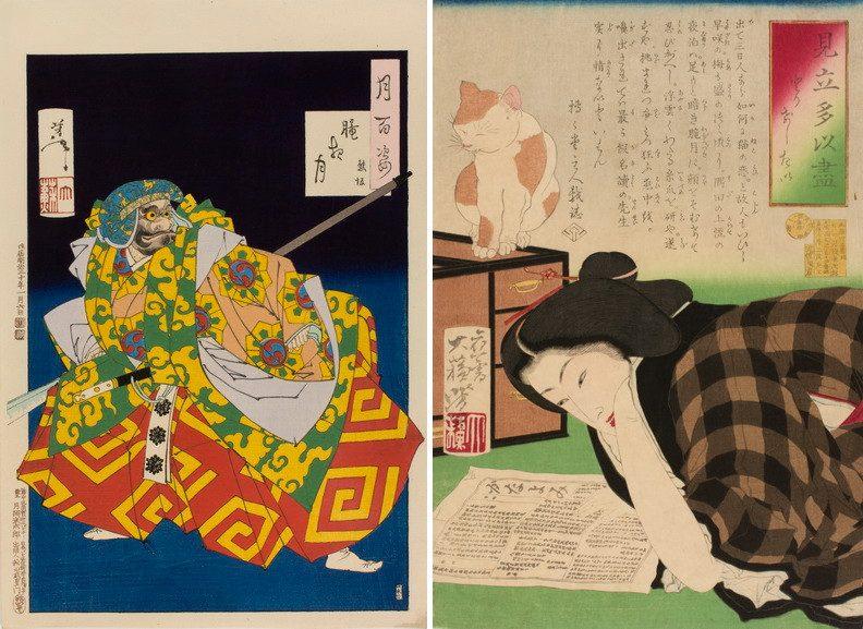 Left Tsukioka Yoshitoshi - Hazey Night Right Tsukioka Yoshitoshi - I Want to Cancel