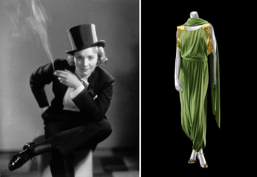 Left Tuxedo worn by Marlene Dietrich Right Jeanne Lanvin - Women evening pants ensemble