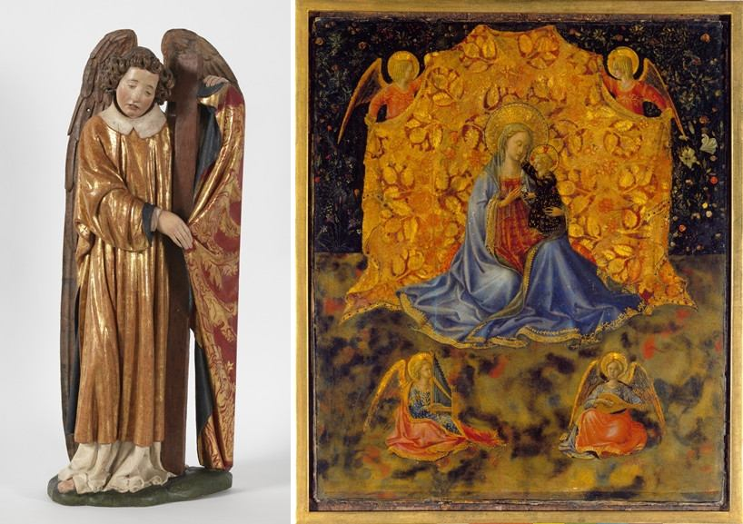 Left Tydeman Maes - Two Angels with the Instruments of the Passion Right Benozzo Gozzoli - The Madonna with Child and Angels