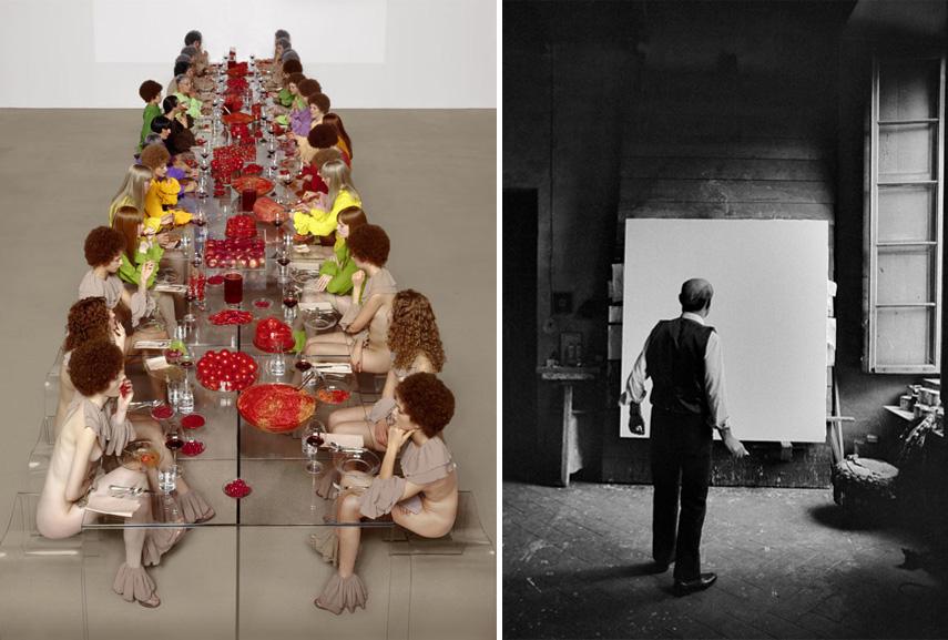 Left Vanessa Beecroft - VB52.002.NT, 2003 Right Ugo Mulas - Lucio Fontana, Milano, 1964