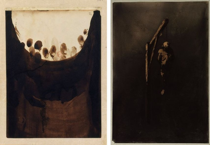 Taches avec empreintes de doigts (Abstract composition with fingerprints), ca. 1864‒65, Ecce Lex (Le pendu) (Ecce Lex [hanged man]), 1854