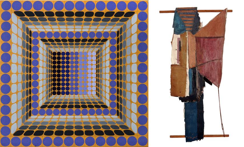 Victor Vasarely - Dynn, 1982, Roy Lichtenstein - Assemblage, 1955