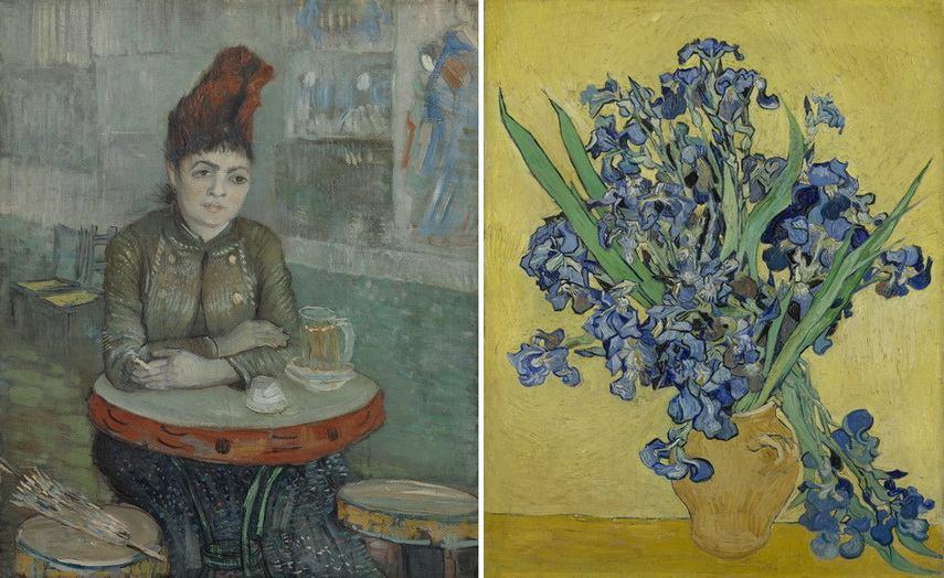 Left Vincent van Gogh - In the Cafe Right Left Vincent van Gogh - Irises. MFAH 2019 Houston Texas