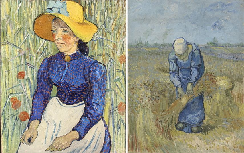 Left van Gogh - Peasant Woman Against a Background of Wheat Right van Gogh - Peasant Woman Binding Sheaves. MFAH 2019 Houston Texas