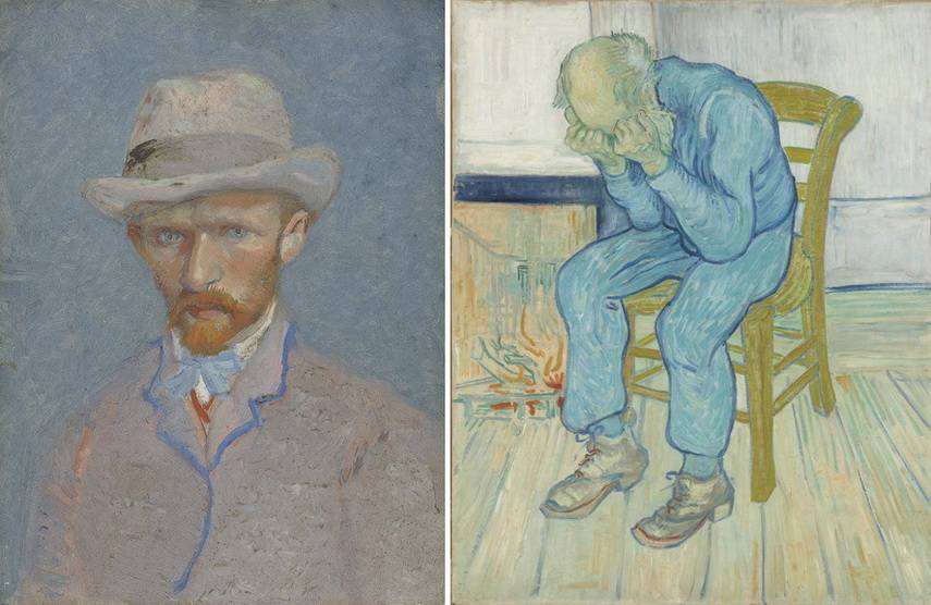 Left Vincent van Gogh - Portrait of Theo van Gogh Right Vincent van Gogh - Sorrowing old man
