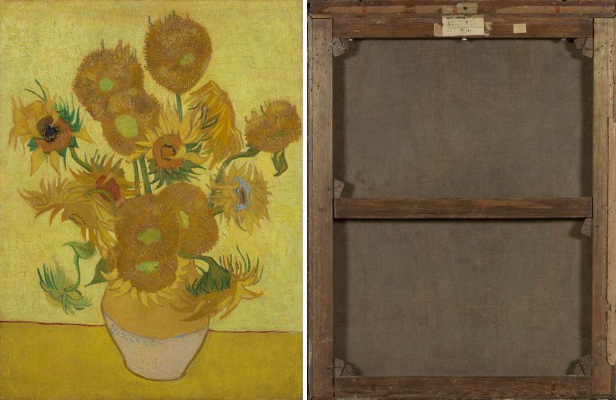 Left Vincent van Gogh - Sunflowers Right Sunflowers (backside)