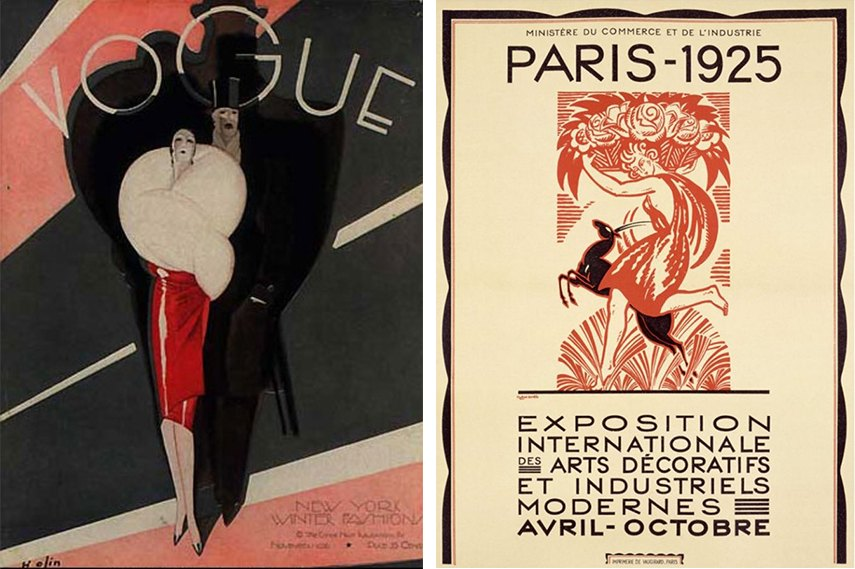 Art Deco style and design of the period can be seen on Vogue Magazine cover (USA 1926) and Exposition Internationale des Arts Décoratifs et Industriels Modernes exhibition in Paris