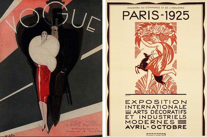 Left: Vogue Magazine cover (USA 1926) / Right: Exposition Internationale des Arts Décoratifs et Industriels Modernes exhibition in Paris