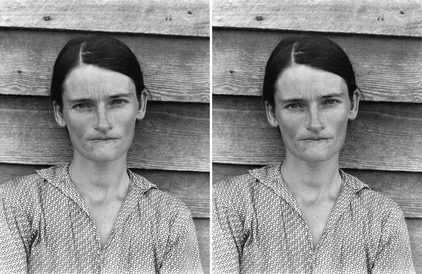 Walker Evans - Alabama Tenant Farmer Wife, art from 1936, Sherrie Levine - After Walker Evans, art from 1981
