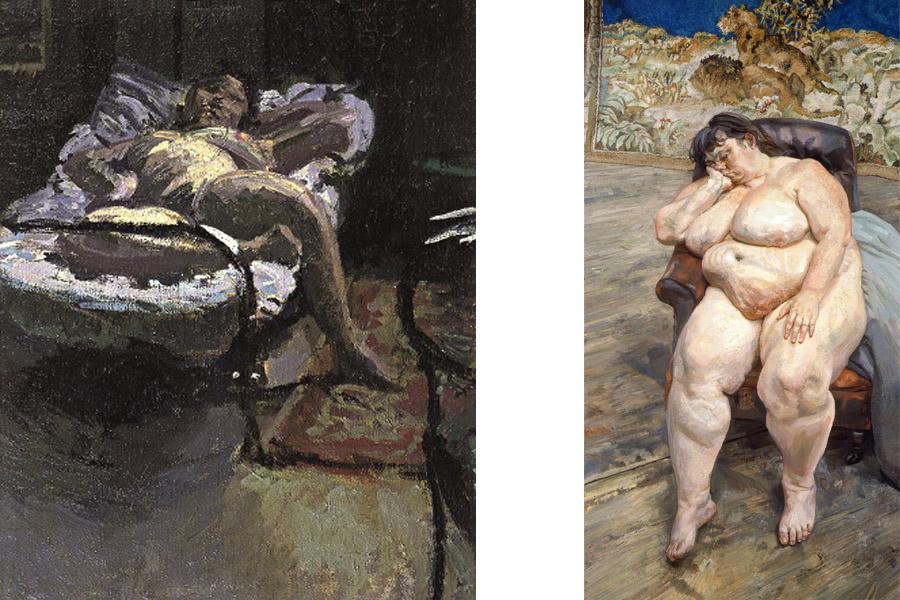Left Walter Richard Sickert - Nuit d'Été, c.1906 Right Lucian Freud - Sleeping by the Lion Carpet, 1996