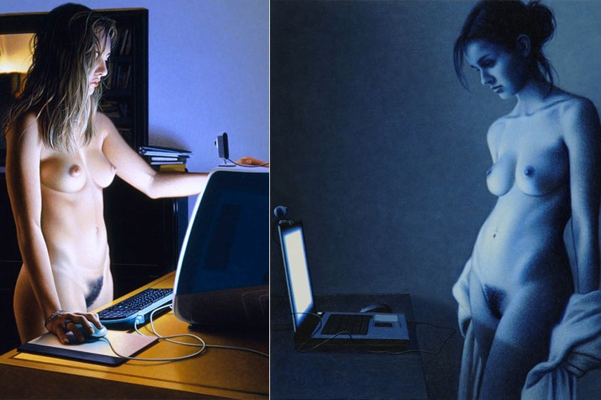 Left: Webcam, 1995 / Right: Show All, erotic painting page 2008
