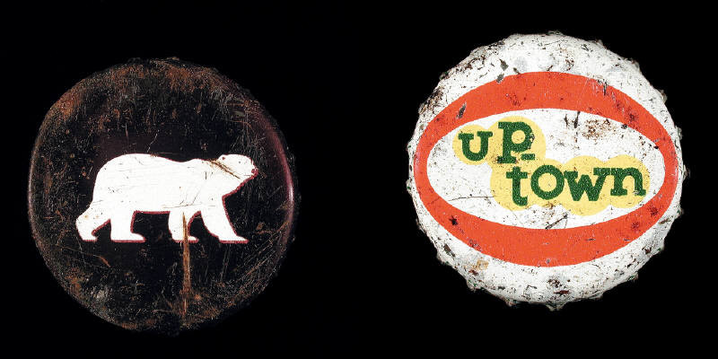 Left William Eakin - Polar Bear, 2001 - Bottle Cap series, Right William Eakin - Uptown, 2001