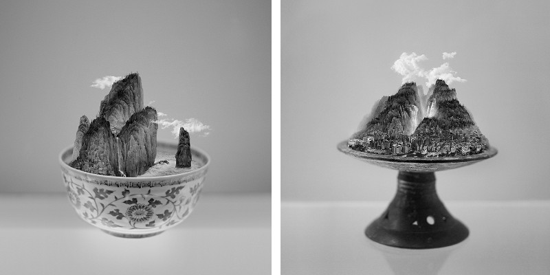 Left Yang Yongliang - A Bowl of Taipei No.1, 2012, Right Yang Yongliang - A Bowl of Taipei No.5, 2012
