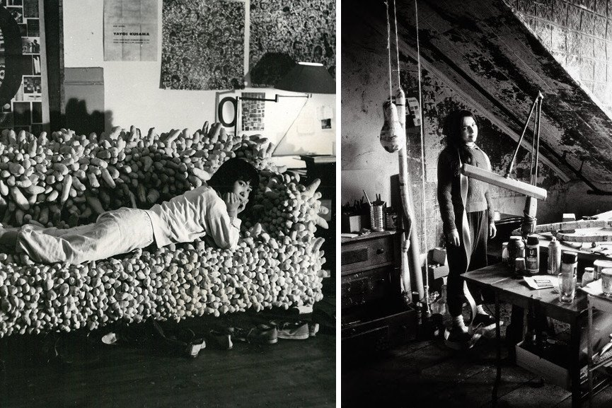 Yayoi Kusama reclining on Accumulation No. 2 (1962), 1962 / Eva Hesse in her studio, 2017 portrait