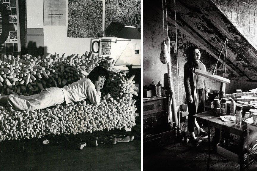 Yayoi Kusama reclining on Accumulation No. 2 (1962), 1962 / Eva Hesse in her studio, 2017 portrait