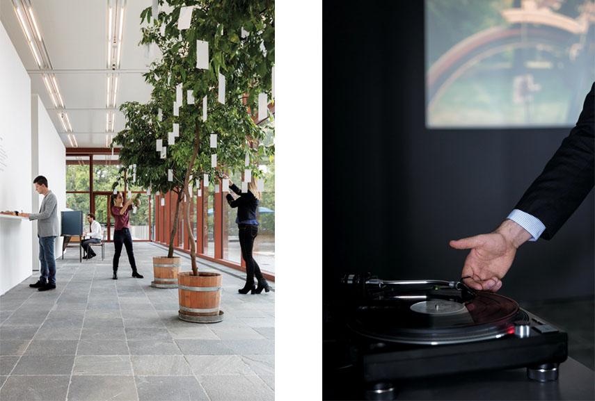 Left Yoko Ono - Wish Trees, 1996:2017 Right Rodney Graham - Phonokinetoscope, 2001