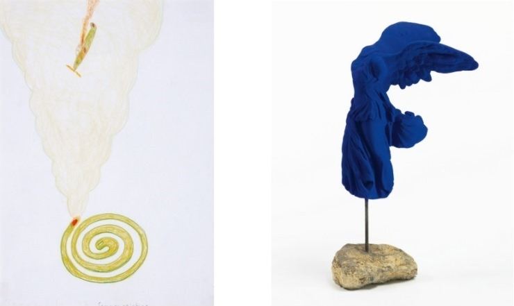Left: Yoshimoto Nara - Sommerbild (Lot 386). Estimated at $1,500-$2,000;sold for $11,000 / Right: Yves Klein - Victoire De Samothrace (Lot 92). Estimated at $80,000-$120,000; sold for $160,000