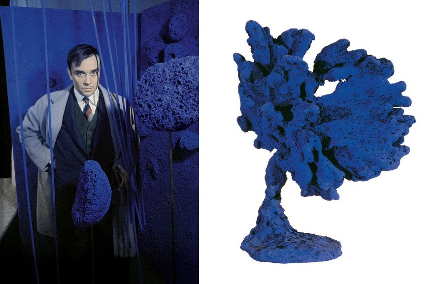 Left Yves Klein surrounded by his Sponge Sculptures Right Yves Klein - Untitled Blue Sponge Sculpture