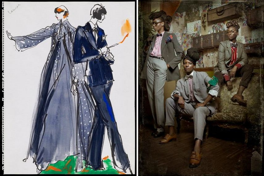 Left Yves Saint Laurent - Le Smoking Right Prisca Monnier - Dandy Queens