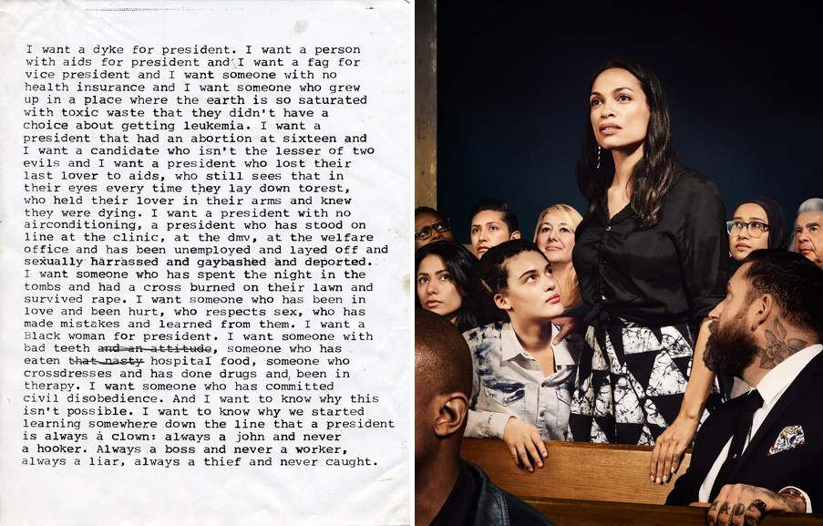 Left Zoe Leonard - I want a president Right Hank Willis Thomas and Emily Shur - For Freedoms