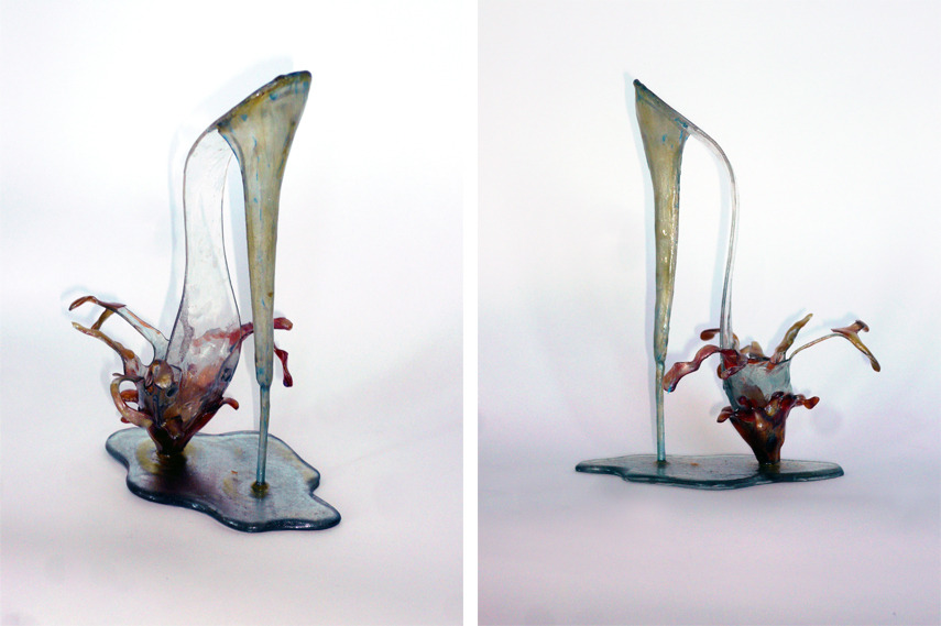 Left and Right- Antonio Lopez - Shoe Sculpture Water 1977 - plastic plexiglas stand height