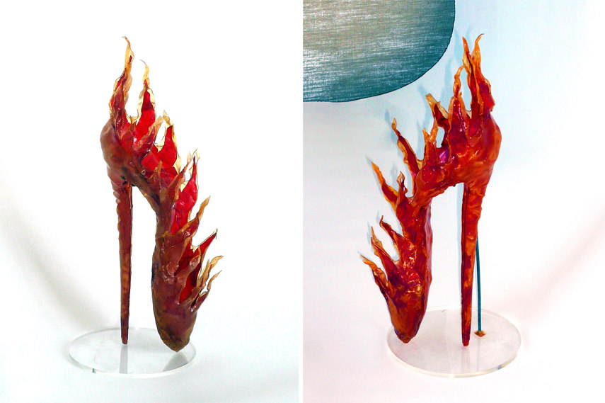 Left and Right- Antonio Lopez - Shoe Sculpture Water 1977 - plastic plexiglas stand