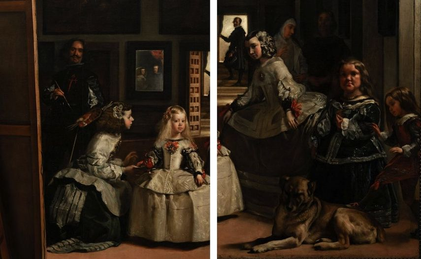 Diego Velazquez - Las Meninas (details), 1656, infanta is in the room and king and queen are seen in the mirror