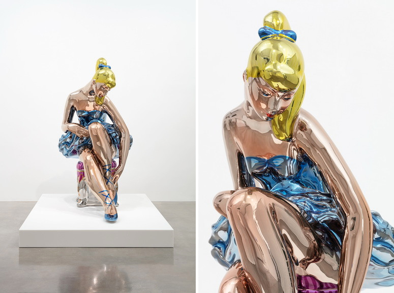 Left and Right Jeff Koons - Seated Ballerina