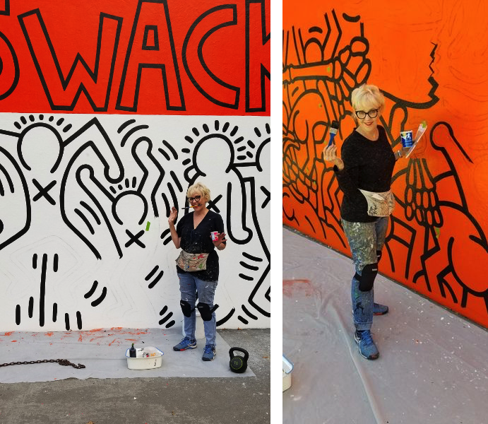 Portrait of Louise Hunnicutt restoring the Crack Is Wack mural by Keith Haring, 2019 on a handball court, with the support of the Keith Haring Foundation