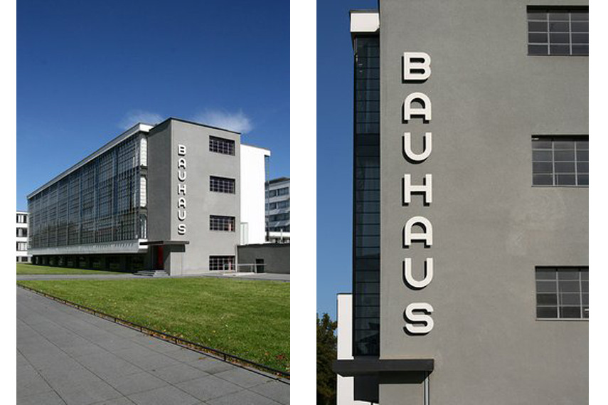 Left and right- Bauhaus Building in Dessau, architect Walter Gropius - Image via Bauhaus-dessau de