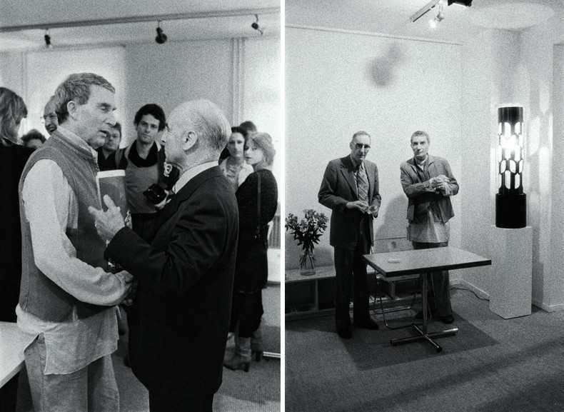 Left left Brion Gysin, right Albert Hoffmann, the discoverer of LSDRight William S. Burroughs and Brion Gysin with the Dreamachine. The dreamachine or the dream machine is a cylinder on a turntable that projects light. its flicker in our eyes cause brain stimulations