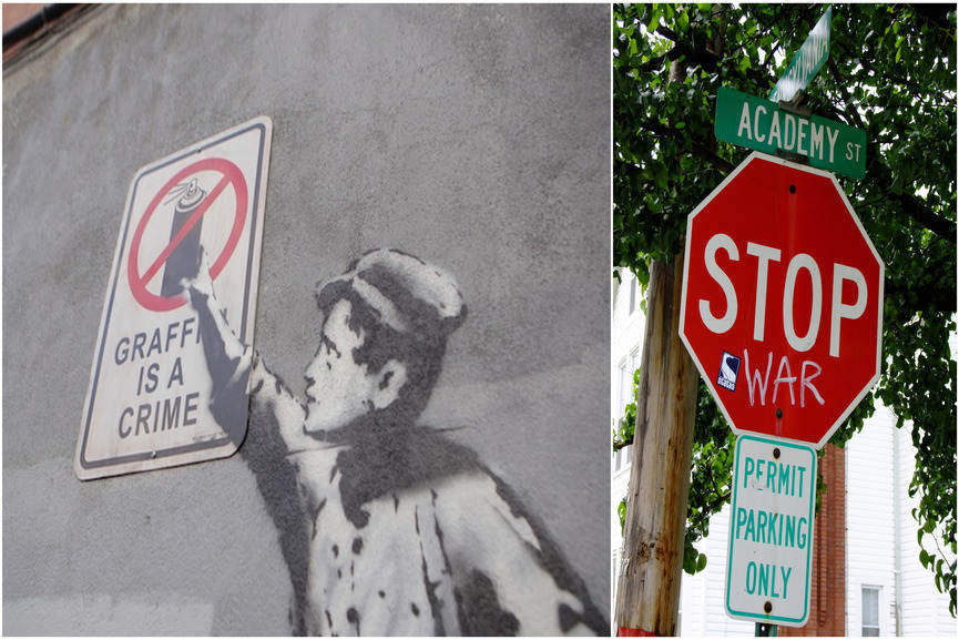 Left:Graffiti is a Crime (detail) - Banksy (famekilledart.tumblr.com)/Right:Stop War graffiti - (Flickr: Shane Henderson)