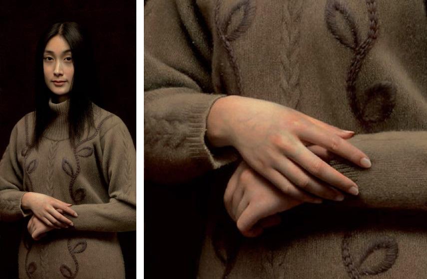 Leng Jun - Mona Lisa, 2004 (Left), Detail (Right)