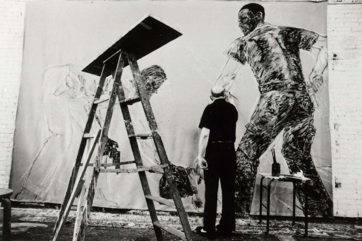 Leon Golub working