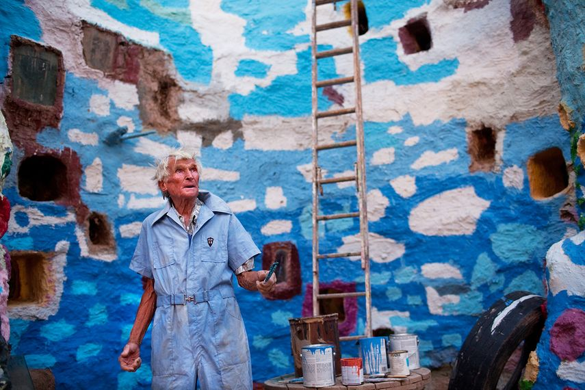 Leonard Knight at the Salvation Mountain, near Salton Sea and Slab City, California