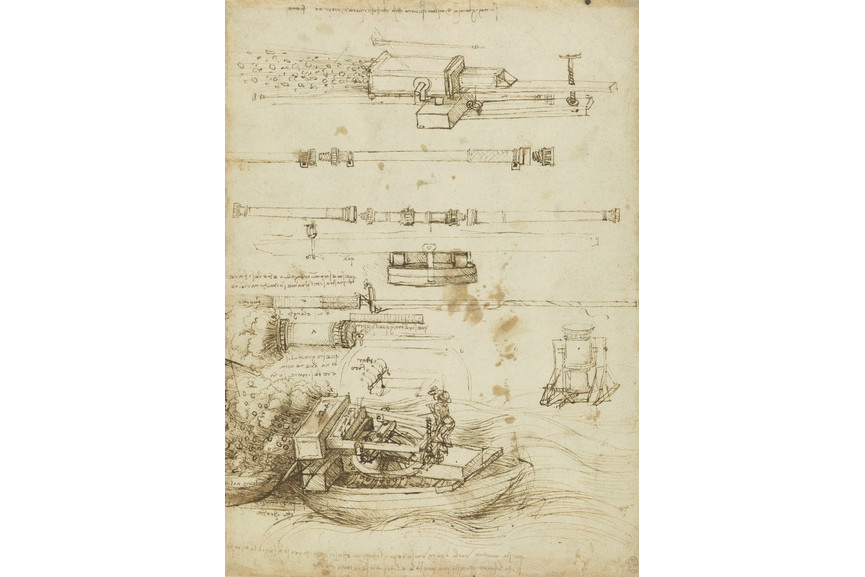 Leonardo da Vinci - Designs for gub barrels and mortars