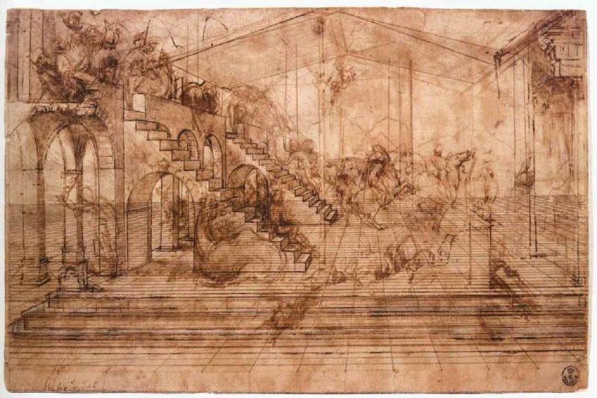 Leonardo da Vinci - Study for the background of the Adoration of the Magi, 1452-1519. Image via leonardodavinci.net