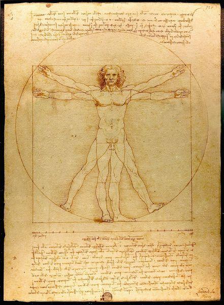 Leonardo's Vitruvian Man, circa 1492, a Rennaisance work blending art and science that made history