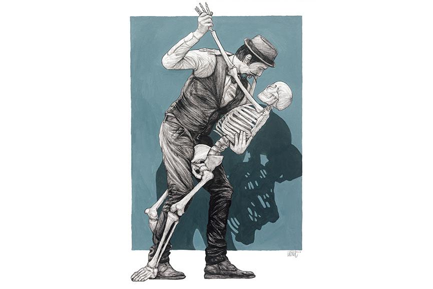 Levalet - Le dernier tango, 2017. Mixed media on paper, 100x70 cm. Galerie Joel Knafo