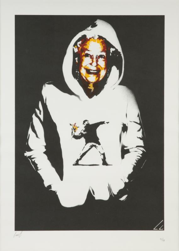 Levi C-Queen In Banksy Hoodie-