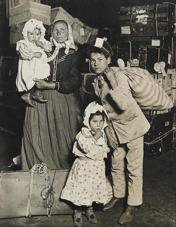 Lewis Wickes Hine-Italian Family Looking for Lost Baggage, Ellis Island, New York-1905