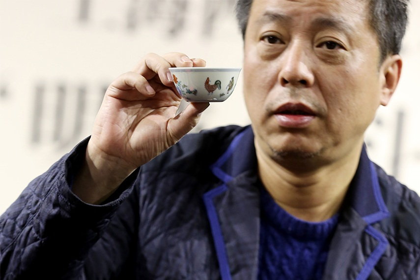 Liu Yiqian with the 500-year-old Ming dynasty cup worth £21million wang november