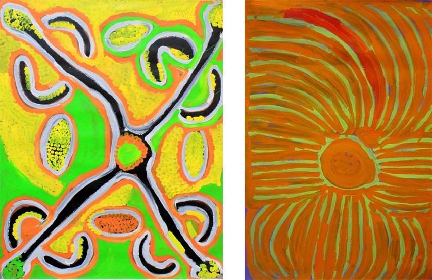Lorna Napurrula Fencer - Bush Potato, 1999 (Left) / Bush Potato, 1999 (Right)