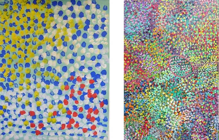 Lorna Napurrula Fencer - Caterpillar, 1998 (Left) ; Caterpillar, 2003 (Right)