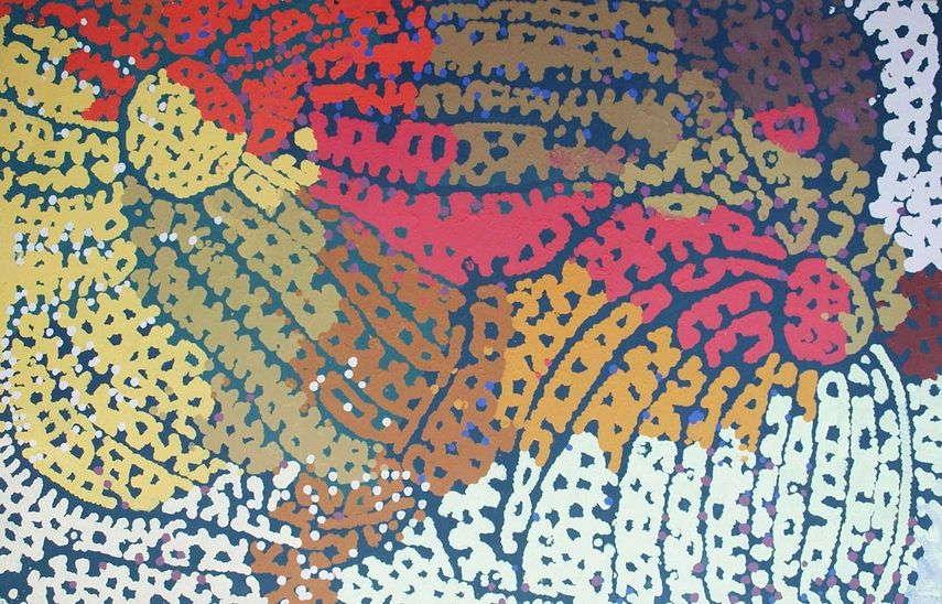 paintings rocks aborigines new paintings land story northern gallery territory Lorna Napurrula Fencer - Murkarki – Bush Plum, via japinkgka.com au