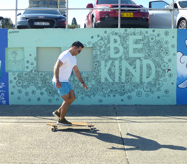 Lou Chamberlin - Be Kind by Amy Peel on the Bondi Graffiti Wall in Sydney, 2017