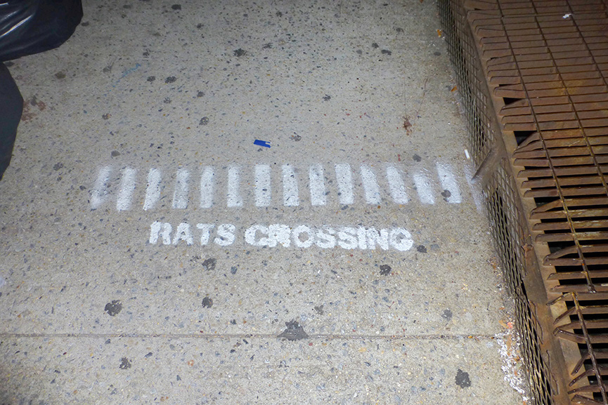 Lou Chamberlin - Rats Crossing stencil by anonymous in Greenwich Village, New York, 2013